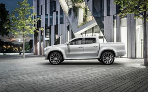 Wallpaper the city, white, the building, X-Class Concept, Mercedes-Benz, tree, pickup