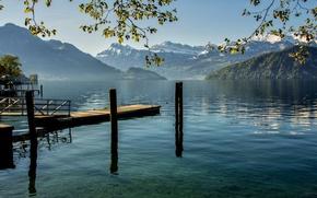 Picture mountains, lake, Switzerland, Weggis, Canton of Lucerne