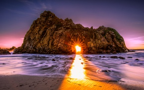 Wallpaper USA, stones, CA, rocks, dawn, the rays of the sun, sea, beach, Big Sur, arch, ...