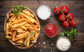 Picture tomatoes, french fries, Portion