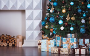 Picture room, Xmas, New Year, gifts, interior, Merry Christmas, design, toys, blue, white, Christmas, decoration, home, ...