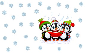 Wallpaper New year, mood, children's, winter, art, cap, holiday, snowflake, penguin, minimalism