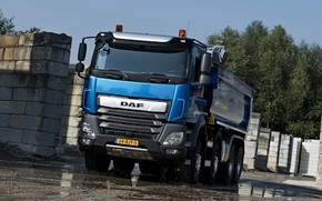 Picture the sky, trees, blue, blocks, tent, puddles, body, Playground, DAF, DAF, dump truck, 2017, 8x4, …