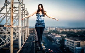 Wallpaper roof, girl, the city, height