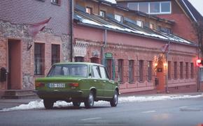 Picture brick, green, Lada, 2101, kiosk