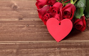 Wallpaper red roses, heart, love, valentine`s day, roses, wood, romantic, gift, red