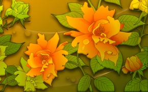 Picture flowers, background, graphics, texture