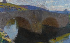 Picture landscape, river, picture, Henri-Jean Guillaume Martin, Henri Matrin, The bridge in Labastide-du-Vert