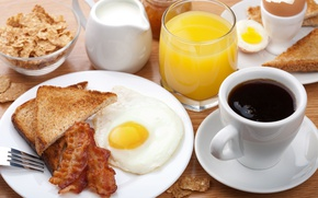 Picture coffee, Breakfast, cream, juice, scrambled eggs, cereal, bacon