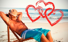 Picture sand, sea, beach, the sky, the sun, pose, shorts, hat, figure, horizon, hearts, lies, male, …