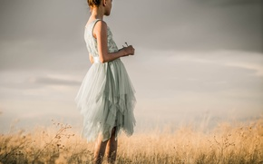 Picture field, clouds, dress, girl