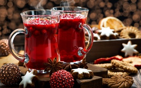 Wallpaper cranberry, drink, spices, mulled wine, New year, cookies, Anis