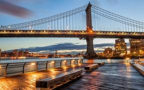 Picture lights, home, New York, USA, Manhattan bridge