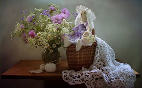 Picture summer, flowers, still life, Bunny, congratulations, toy tilde