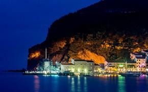 Picture sea, trees, mountains, night, lights, rocks, shore, home, boats, Montenegro, Budva
