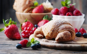 Wallpaper croissants, strawberry, cakes, berries