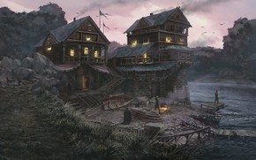 Wallpaper structure, people, shore, river, Riverside Warehouse