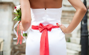 Picture girl, back, bouquet, dress, tape, red, bow, the bride, dress, wedding, bouquet, wedding, bride