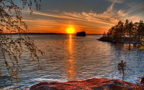Picture forest, the sky, the sun, trees, sunset, river, island, Finland, Chunk