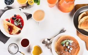 Picture berries, coffee, Breakfast, juice, fruit, pancakes, jam, decanter