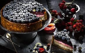 Picture berries, cake, peach, BlackBerry, blueberries