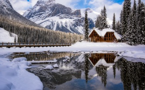 Picture Canada, nature, mountains, snow, winter, house