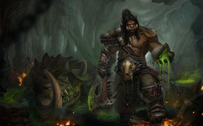 Wallpaper World of Warcraft, Orc, Tien Can, art, fantasy, the game, Grommash Hellscream