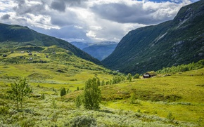 Picture Nature, Clouds, Meadows, Mountains, Norway, Tindevegen