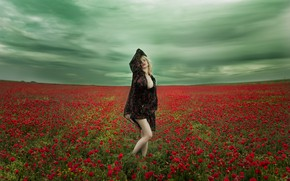 Picture field, the sky, flowers, pose, mood, Maki, poppy field, Vanessa Galway