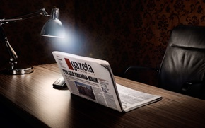 Picture lamp, Table, Newspaper