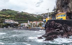 Picture sea, beach, palm trees, rocks, coast, home, Portugal, resort, Madeira, Ponta do Sol