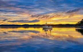 Wallpaper clouds, morning, sunrise, dawn, Norway, boat, Vestlandet, Rogaland, fishermen, fisher boat, Røyksund, Røyksundkanalen