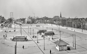 Picture retro, New York, Brooklyn, tram, USA, Williamsburg bridge