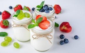 Picture berries, Breakfast, blueberries, strawberry, grapes, yogurt