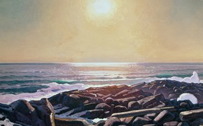Picture landscape, nature, picture, Rockwell Kent, Rockwell Kent, The sun on the Sea. Monhegan. Man