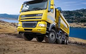 Wallpaper yellow, truck, body, primer, DAF, DAF, dump truck, Euro5, 8x4, DAF CF85.460