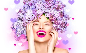 Picture girl, joy, flowers, face, laughter, hands, makeup, hearts, white background, beautiful, lilac, closed eyes, on …