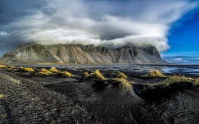 Picture clouds, mountains, Iceland, Iceland, Vestrahorn