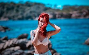 Picture chest, tattoo, bra, Simi, red hair, Katie Sendza