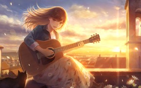 Picture cat, girl, the sun, flowers, the city, guitar, by romiy