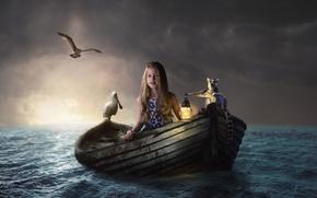 Picture sea, water, birds, boat, girl, lantern, lemur