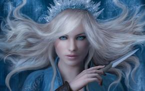 Picture girl, art, the snow Queen, fantasy, Z Jones, 3D illustration for Book Cover