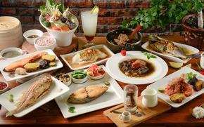 Picture fish, vegetables, shrimp, seafood, meals, cuts