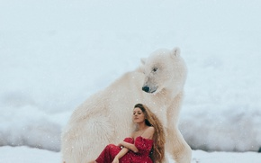 Picture winter, girl, snow, mood, the situation, bear, polar bear, red dress