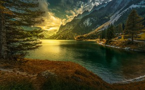 Wallpaper sunset, Alps, Austria, Vorderer Gosausee, lake, Lake Gosau, Gosau Lake, Austria, mountains, Gosau, Gosau, Alps
