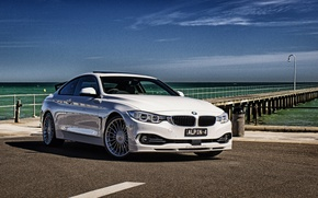 Wallpaper Alpina, BMW, F32, sea, coupe, BMW, beach, 4-Series, Coupe
