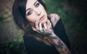Picture makeup, piercing, brunette, ring, tattoo, tattoo