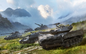 Picture The sky, Clouds, Mountains, Grass, Tanks, WoT, World of Tanks, World Of Tanks, Wargaming Net, …