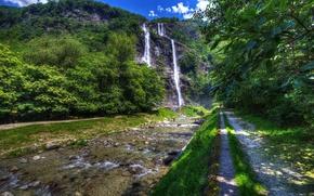 Wallpaper stones, HDR, the sun, summer, greens, Lombardy, river, rock, Sondrio, trees, waterfall, Italy, Acquafraggia
