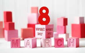 Picture gift, cubes, red, March 8, Women's Day